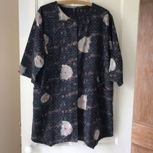 Cotton duster in rare ikat print